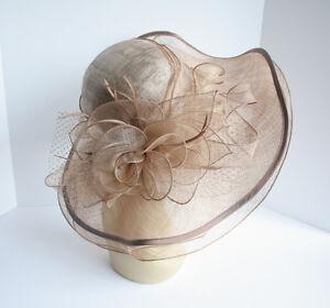 NEW Church Derby Wedding Sinamay & Organza Wide Brim Dress Hat Taupe C-VF3034