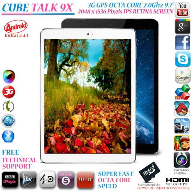 """CUBE TALK 9X 3G GPS 2GHz OCTA CORE 16GB 9.7"""" RETINA 4.4 ANDROID PHONE TABLET PC"""