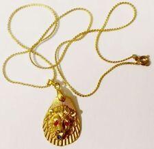 pendentif chaine tête de lion cristaux rubis saphir bijou vintage coul or * 4673