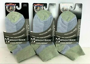 3 Packs Small WrightSock Double Layer Friction-Free Coolmesh Ankle Socks Purple