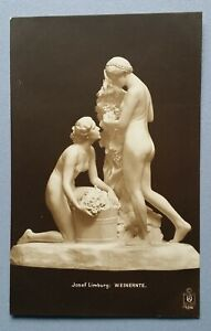 Old-Postcard-Sculpture-Statue-Erotic-Josef-Limburg-Vintage-Reading
