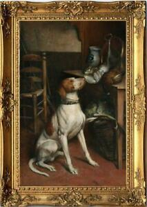 """Old Master-Art Antique Oil Painting Portrait animal dog on canvas 24""""x36"""""""