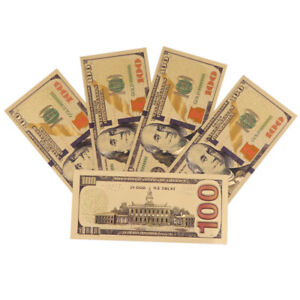 7pcs//Set Paper Money USA Paper Monry Collection Banknotes Gold Foil Bill Craft