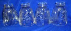 Set-of-4-Vintage-Clear-Etched-Light-Fixture-Shades