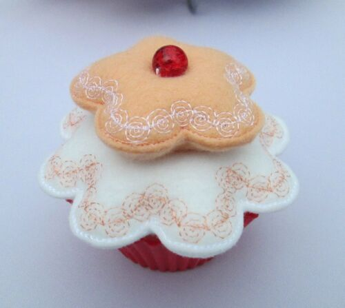 Beautiful Cupcake Embroidered Pin Cushion Hand Crafted