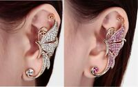 Gold Tone Butterfly Ear Cuff Clip On Earring With Crystals 2 X 1/2