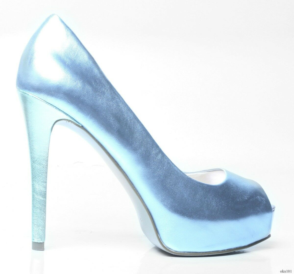 new GUESS 'Paches' open-toe metallic blue heels platforms shoes - SEXY
