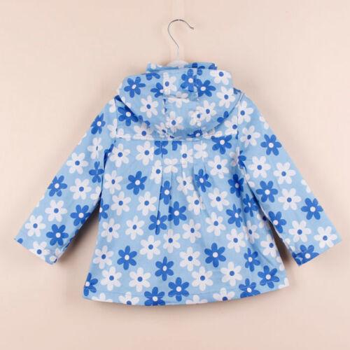 BABY Girl Toddler Floreale Blu Cappotto Giacca Windbreaker HOOD SMART 2-8y
