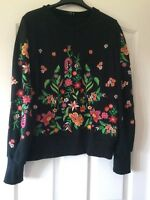 Zara Black Embroidered Sweat Top Size M