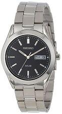 New Seiko Men's SNE039 Silver Solar Black Dial Day/Date Watch