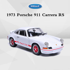 Welly-Diecast-Model-1973-PORSCHE-911-CARRERA-RS-Racing-Voiture-Blanc-a-l-039-echelle-1-24