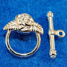 50Sets WHOLESALE Silver-Plated FLOWER Toggle Clasps Tibetan Connectors Q0708