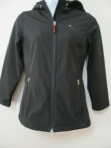 ORVIS-Misses-M-Black-Zip-Front-Jacket-Zip-Pockets-Hooded-Toggles-Flannel-Lined