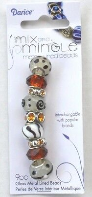 Darice Mix and Mingle Glass Metal Lined Beads 9 Pieces Brown and White