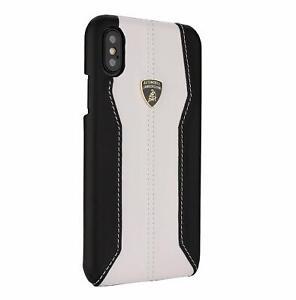 LAMBORGHINI-Huracan-D1-Leder-iPhone-X-iPhone-Xs-Schutzhuelle-Back-Case-Weiss