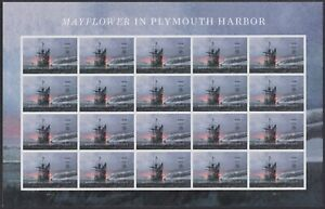 US-5524-Mayflower-in-Plymouth-Harbor-forever-sheet-20-stamps-MNH-2020