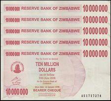 Zimbabwe 10 Million Dollars X 5 Pieces (PCS), 2008, P-55, Circulated, Used