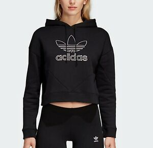 Details about adidas Originals CLRDO Womens cropped top hoodie trefoil black new fitness [14]
