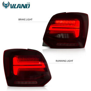 LED Audi Look Taillights For VW Volkswagen Polo MK V 6R 6C TDI 11-17 Rear Lamps