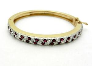 Image Is Loading Double Hinged Ruby Diamond Bangle Bracelet Solid 14k
