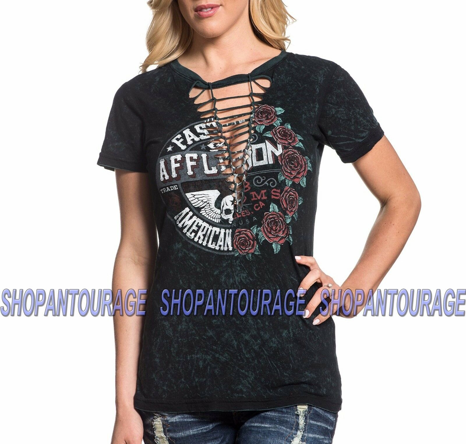 Affliction Volume Split AW18145 New damen`s schwarz Jade Reversible Fashion Top
