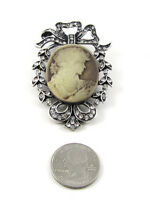 Silver Toned Brown Cameo Brooch With Clear Rhinestones