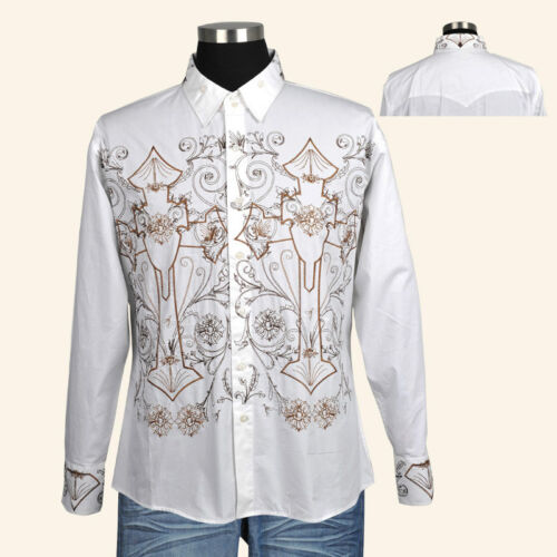 100/% Cotton Men/'s Casual Fashion Shirt With Embroidered Design Black//White