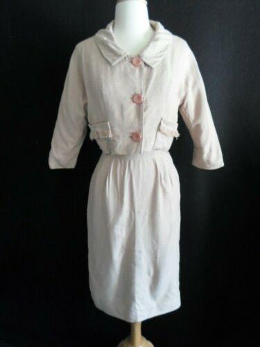 1950's VINTAGE Neutral LINEN Wiggle Dress Suit Pen