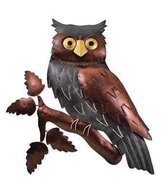 Rational Wanddeko Eule Vogel Uhu Ziervogel Metall Deko Bild Tier Figur Wandschmuck Hänger