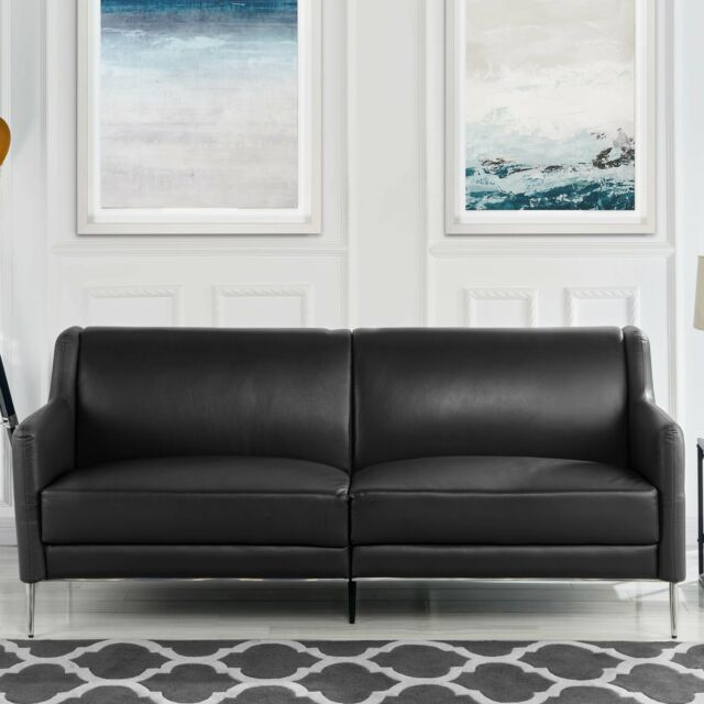 Superb Mid Century Leather Match Sofa 77 1 Sleek Simple Living Room Couch In Black Andrewgaddart Wooden Chair Designs For Living Room Andrewgaddartcom