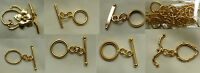 24kt. Gold Toggles Bonded Over Copper Core Many Styles Bulk Wholesale Qty. Packs