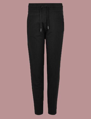 Ex M*S Black Cotton Rich Tapered Leg Joggers Size 12-22 i23.3