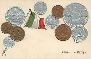 VINTAGE-MEXICO-FLAG-amp-EMBOSSED-COPPER-SILVER-amp-GOLD-COINS-POSTCARD-UNUSED