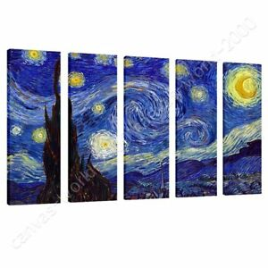 Starry-Night-by-Vincent-Van-Gogh-Ready-to-hang-canvas-5-Panels-Wall-art-HD
