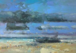 Seashore, Original Oil painting, Handmade artwork, One of a kind
