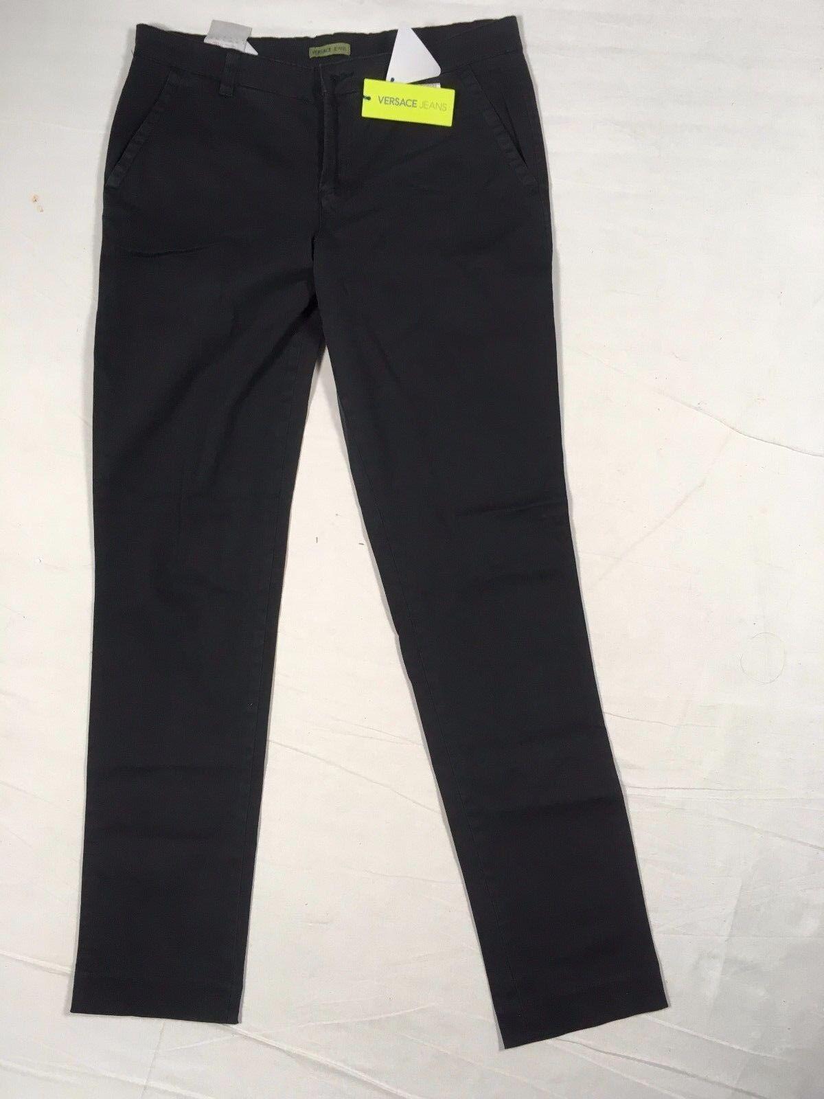 Z03195 VERSACE Chino Hose Jeans - schwarz- W30L32 - Stretch - Neu 30 32 XS (44)
