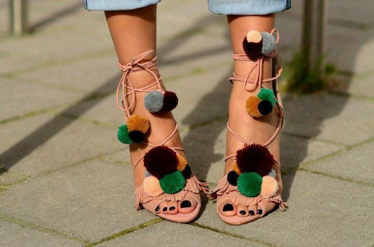 ZARA Suede Pelle High Heel Sandals With Pompoms Sold New 6614/101   5 6 6.5