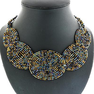 "24/"" HANDBEADED LINK PEACOCK BLACK GOLD BEADED PENDANT necklace"