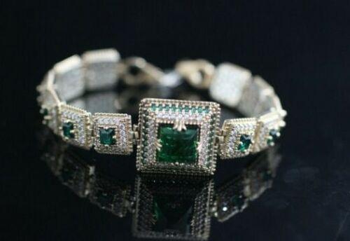 Turc fait main bijoux Argent sterling 925 Emerald Bracelet Bangle