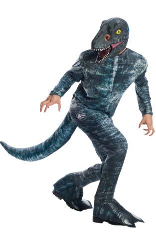 Adult Jurassic World Dinosaur Velociraptor Blue Costume 2 Sizes Fancy Dress