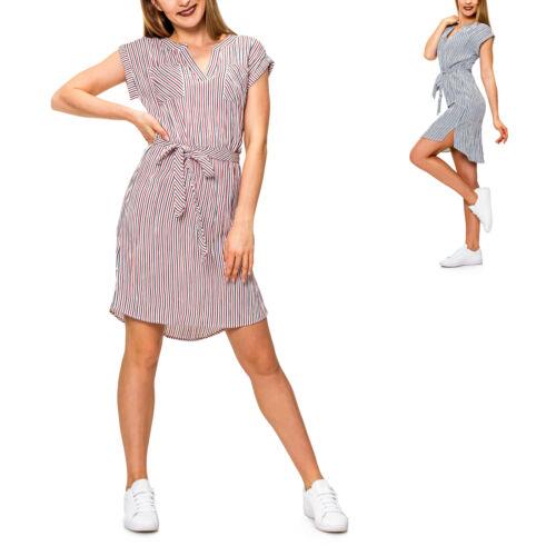 Only Damen Sommerkleid Blusenkleid Kurzarmkleid Kurzes Kleid mit Streifen