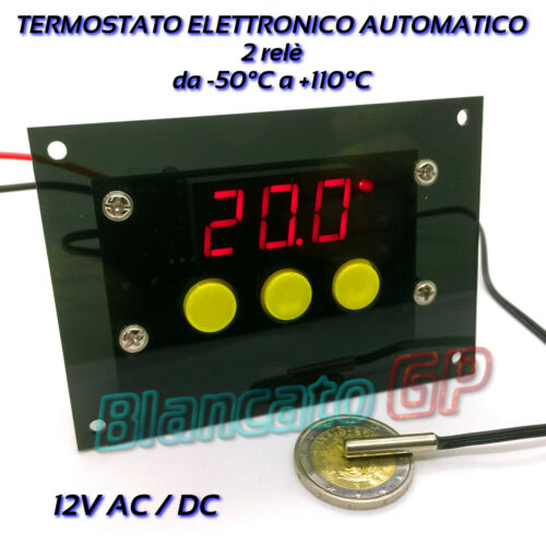 50℃ 110℃ TERMOMETRO TERMOSTATO DIGITALE ELETTRONICO 12V AC DC 2 RELÈ SONDA NTC