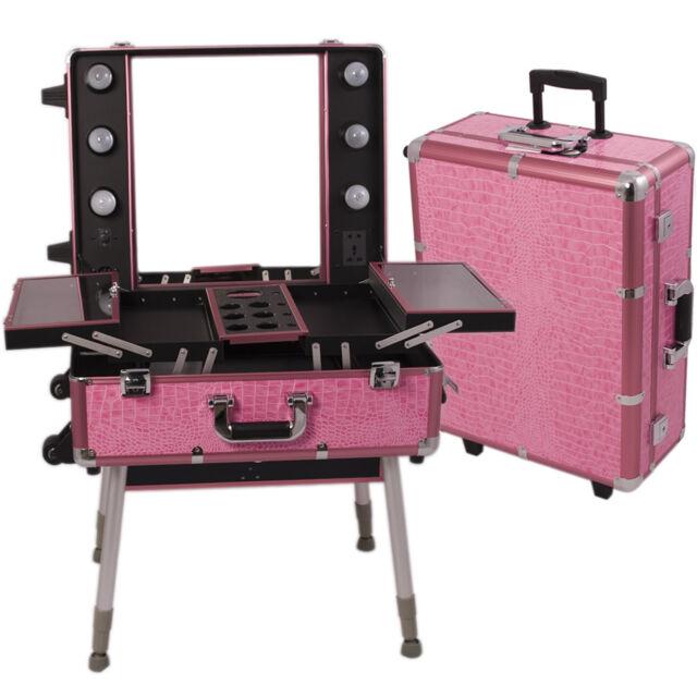 Professional Rolling Studio Makeup Artist Cosmetic Case Light Mirror Pink Train