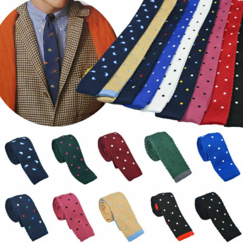 Mens Necktie Colors Knit Narrow Slim Skinny Knitted Tie Colourful Charm Ties