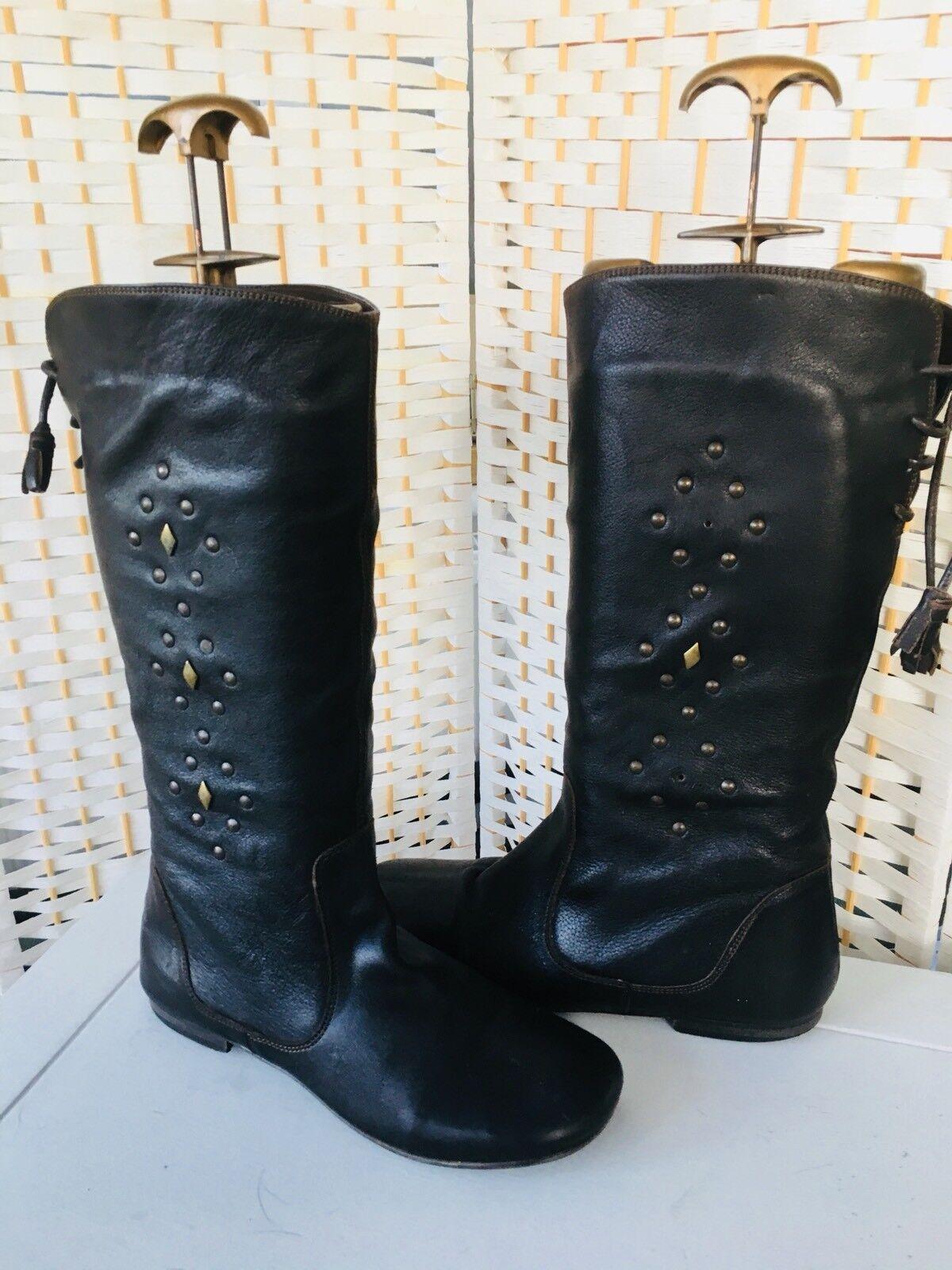 BHS Brown Leather Knee High Boots UK 7 / 40 Flat Heels Stud Decor Tassel Backs.