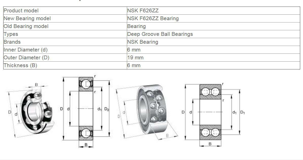 NSK 626ZZ Deep Groove Ball Bearings 6x19x6mm