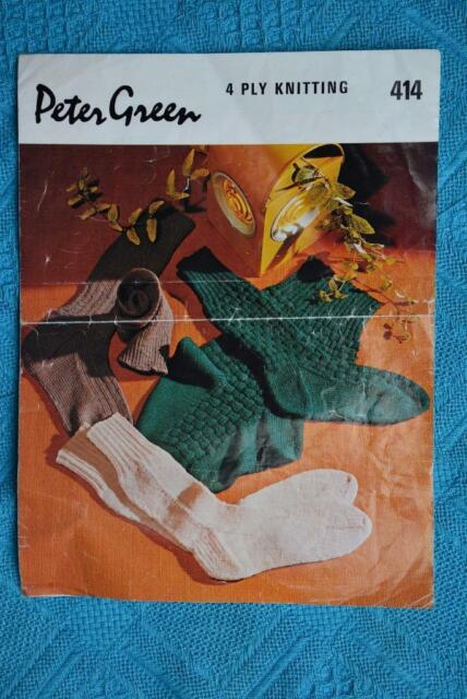 PETER GREEN  #414.  3 Pairs Socks Vintage KNITTING PATTERN 4 Ply
