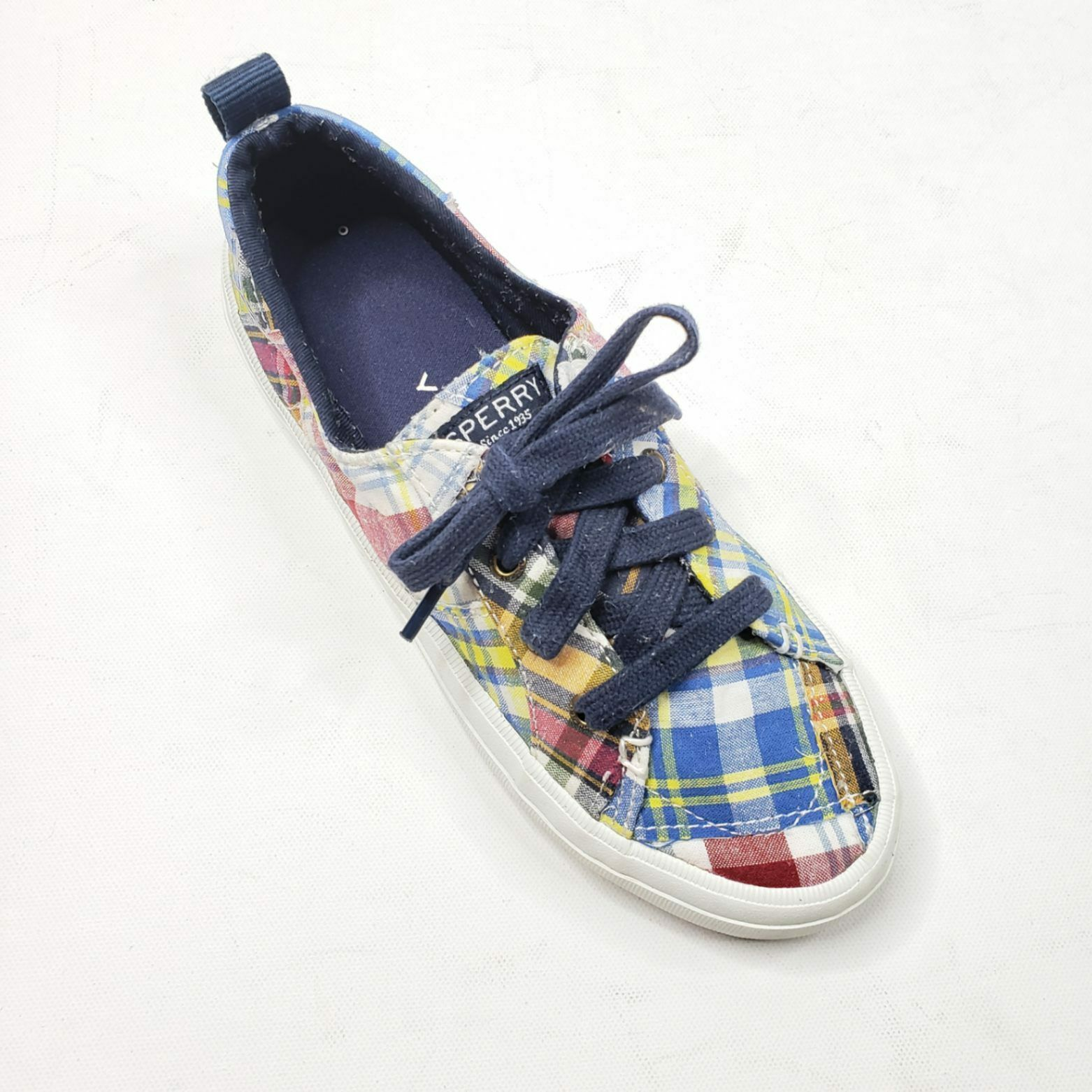 Sperry Women's Preppy Plaid Laced Sneakers Shoes Size 6