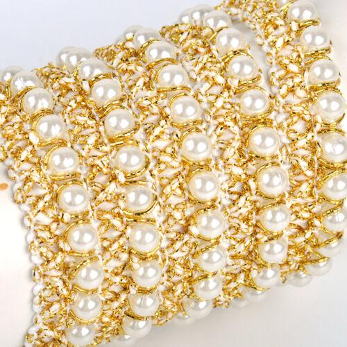 1 Yd Perle Borten Gelb Spitzenband Lace BAnder Spitzenborte Hochzeit Braut DIY