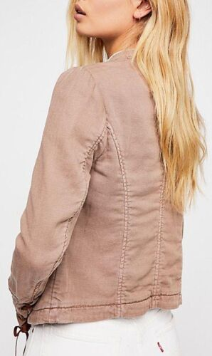 Free People Jagger Blazer Military Jacket Lace Up Cuff Pink Lightweight OB812217